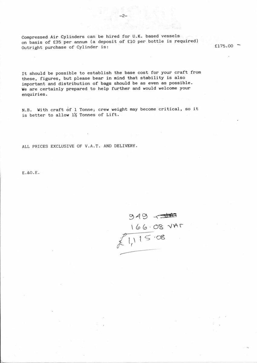 1992 Unsink Buoyancy-Prices Jan92 p 2 of 2