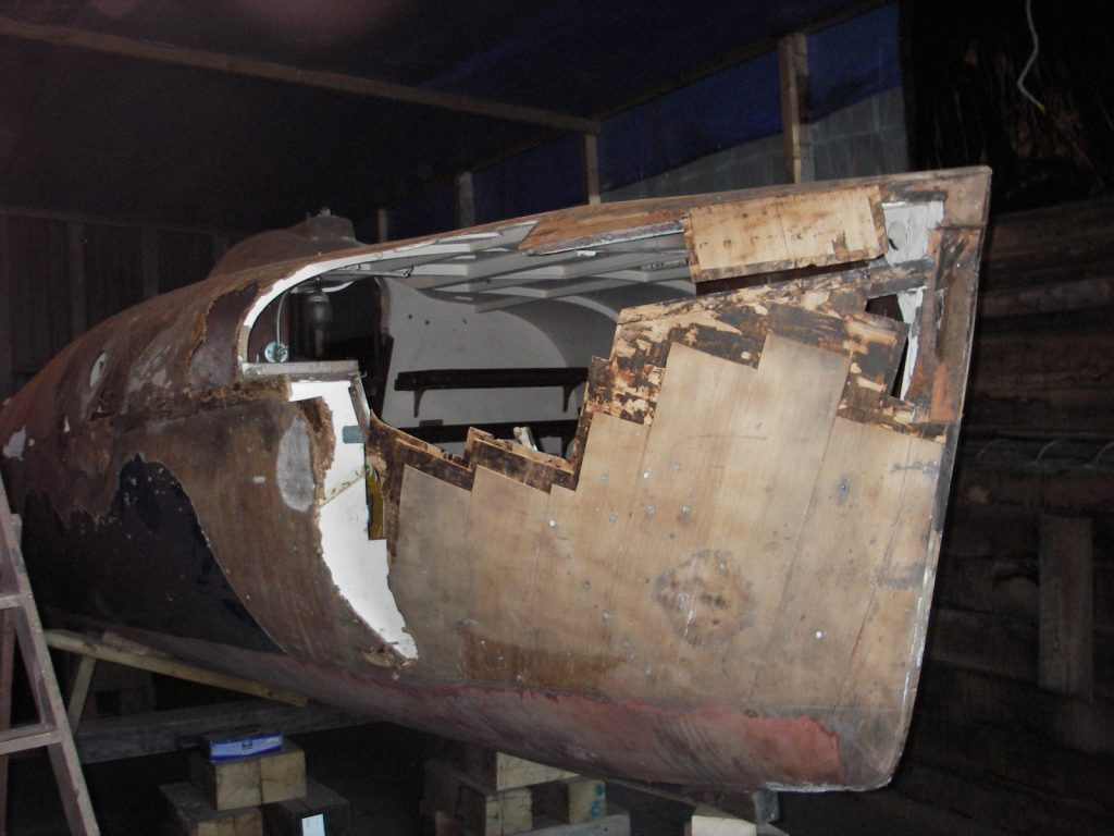 2.3 Initial investigation showing partially stripped back damaged area on starboard bow