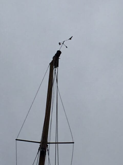 Top of the mast broken. Lowering it to scarf in a new piece exposed the extent of the damage