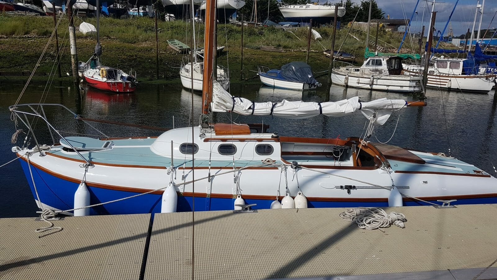 The hull and decks are in good, but not perfect, condition - port side