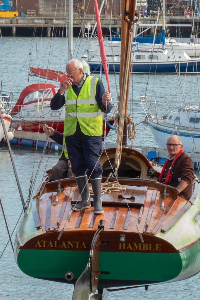 The Skipper keeps a weather eye on proceedings.