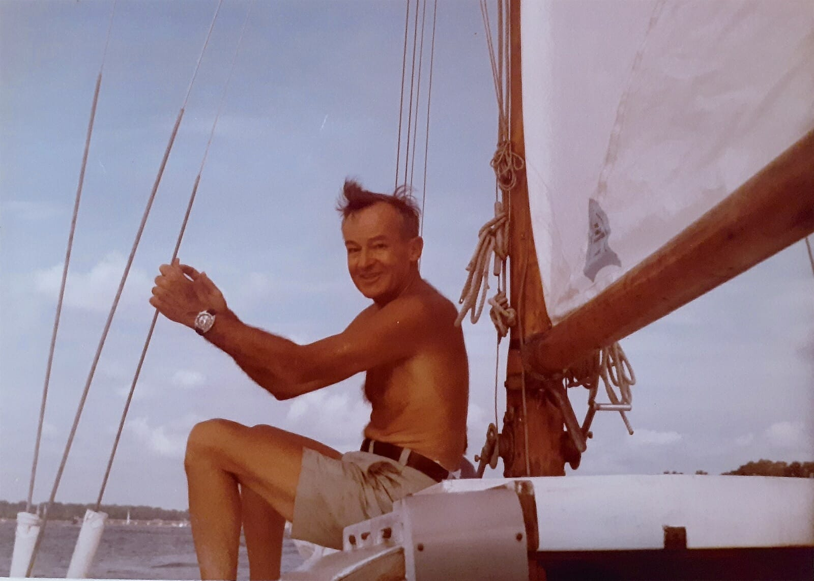 A101 Russell Coile sailing on Patience in the 1980s