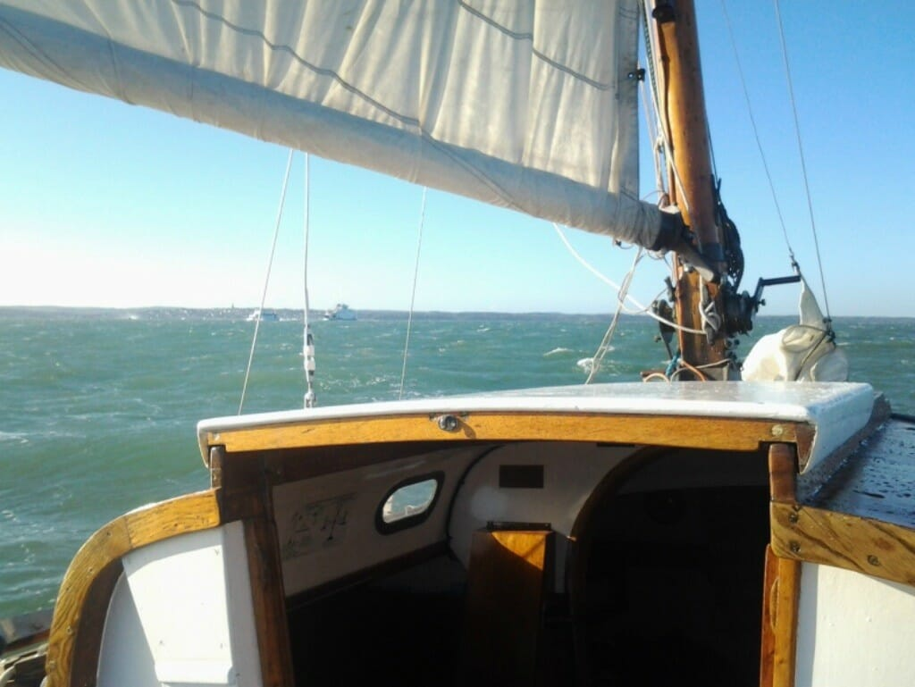A102 sailing under reefed main