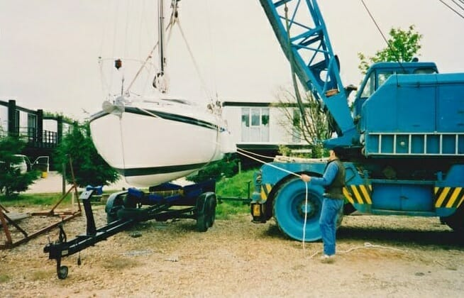 A86 1990s Craning in at Hayling Island....nerves of steel!!! 2