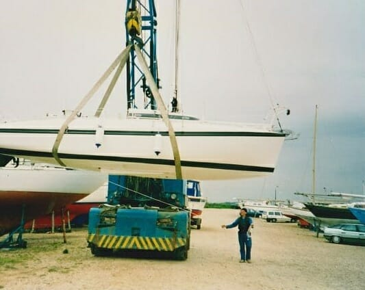 A86 1990s Craning in at Hayling Island....nerves of steel!!!