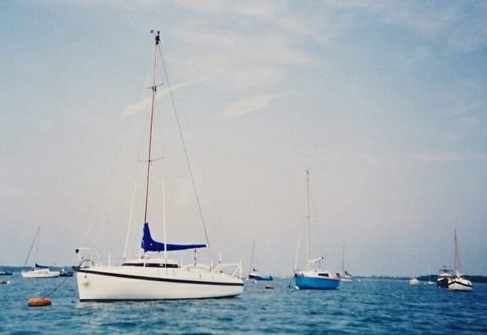 A86 1990s On her moorings, Chichester harbour '90s 1