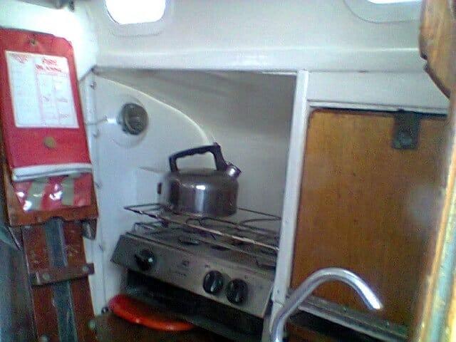 A95 2016 033 Starboard galley gas grill storage cutlery drawer