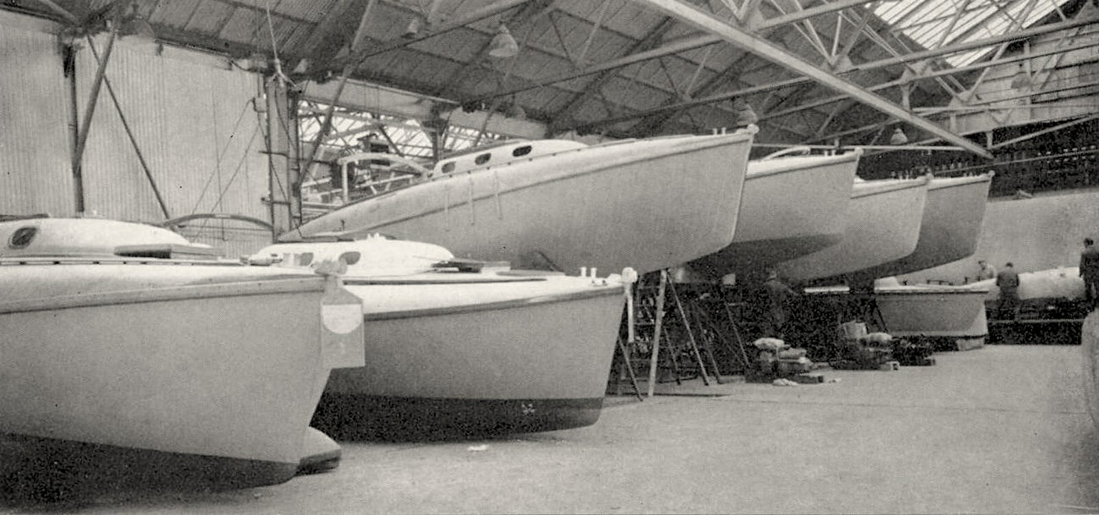Atalanta Hulls being built in the Fairey Factory