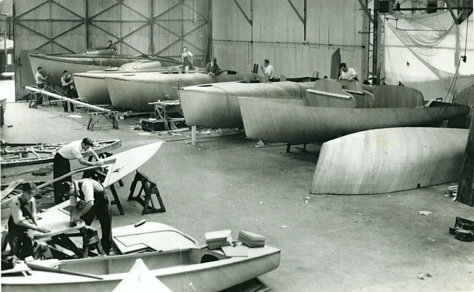 Atalanta hulls in the Fairey Factory