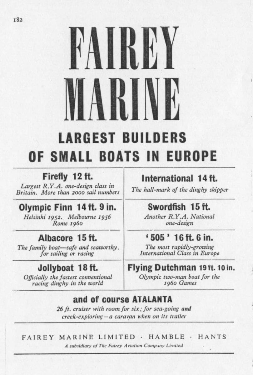 1959 Dinghy Yearbook p182-183 Fairey Ad