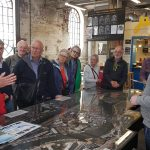 Starting the tour at a model of the Floating Harbour