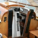 A179 Emma Duck 2005. Cockpit and hatchway. Shows the engine space ventilators.