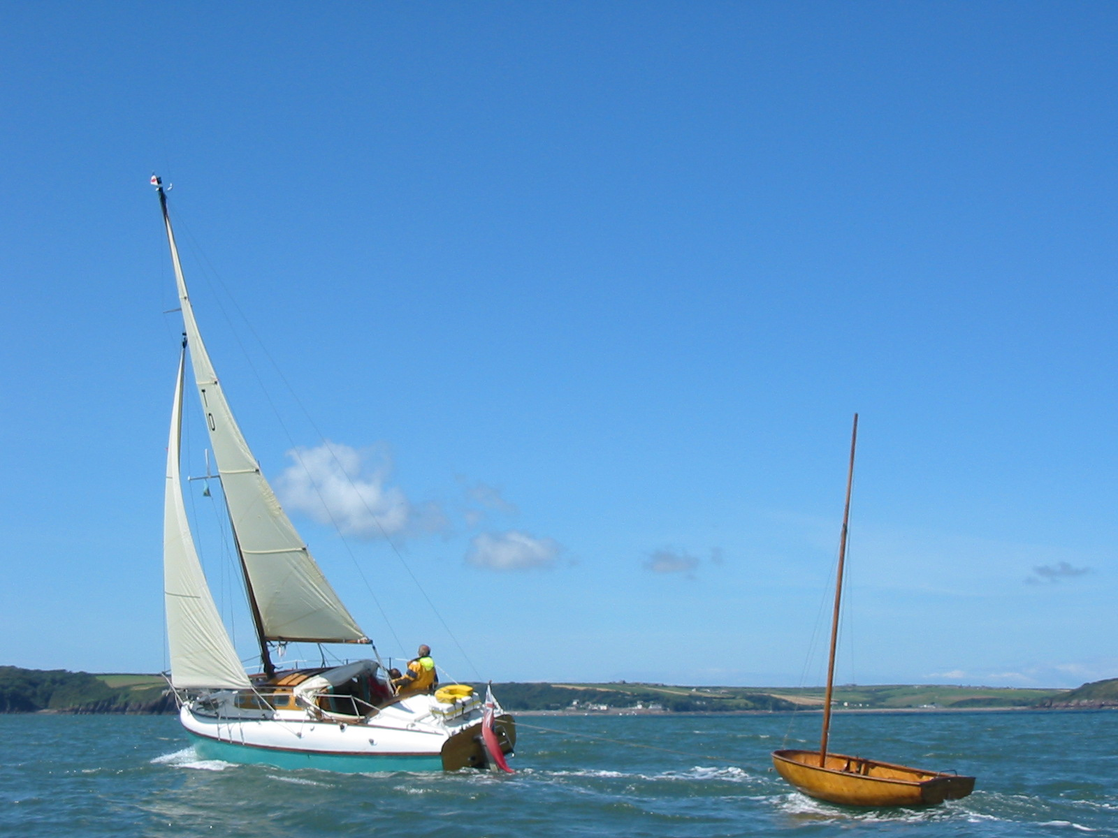 Calista towing a Fairy Duckling near Milford Haven