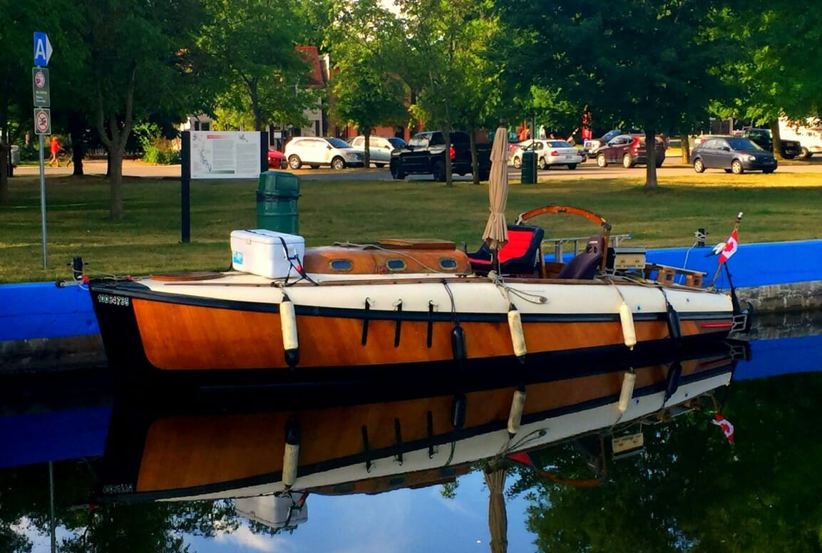 A33 moored in town