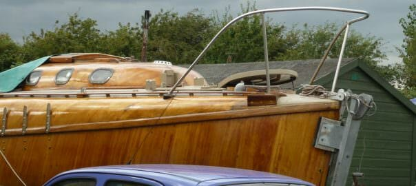 Johanna - well set up with varnished hull and an excellent looking galvanised trailer