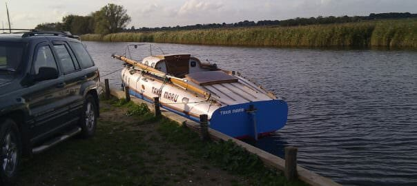 After some years under restoration a trial launch on The Broads at Martham