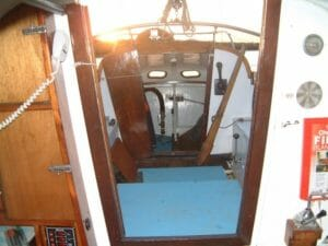 Looking aft from the galley shows the increased height in the aft cabin.