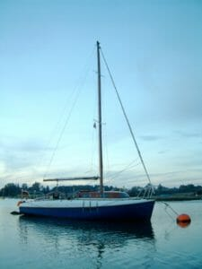 Looking peaceful on her mooring. 2007