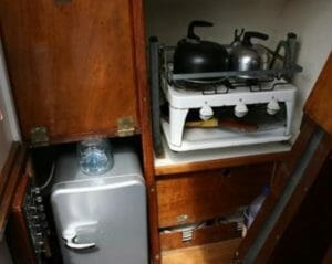 The Galley is very original and includes a fridge.