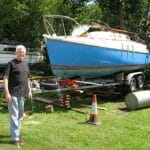 Lifting her onto the trailer in 2008