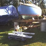 Jacked up for the keel refurbishment. 2008