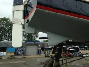 Vertical rudder and skeg