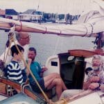 "Cockpit of ""Arosa"" at the MDL Hamble evnt 1996.  Simon Cooper on the stbd side."