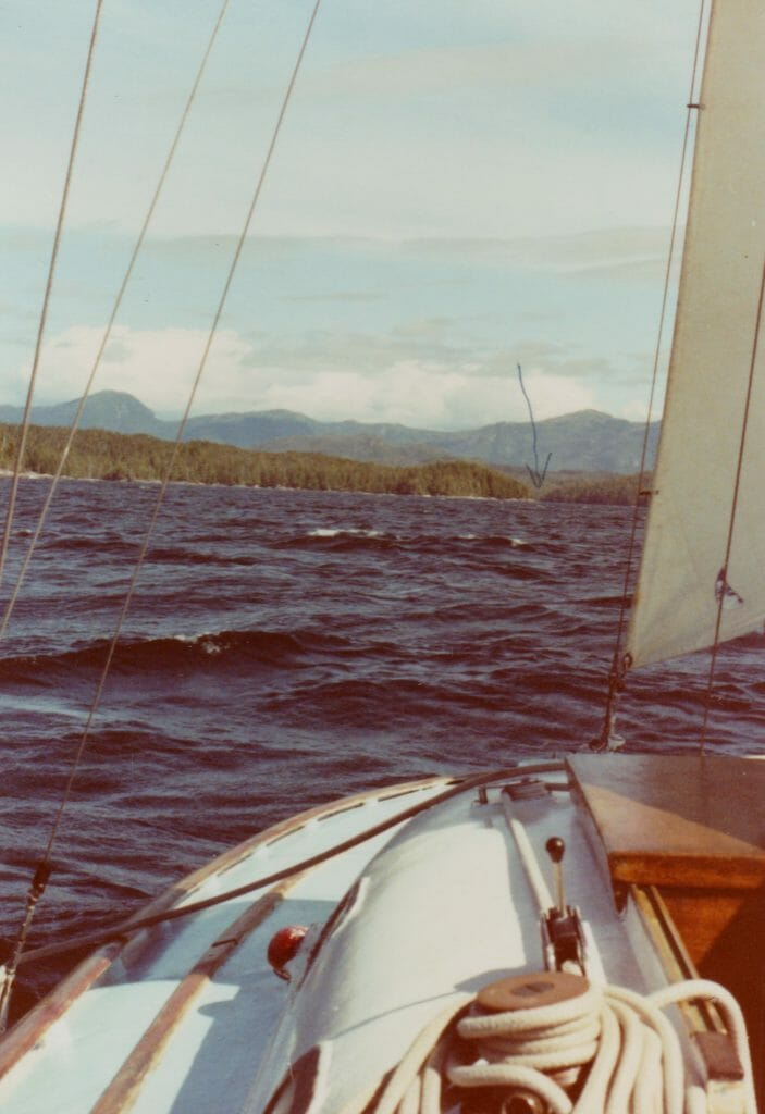 A51 Lavedo Sound Northern BC Canada. Storm jib only making for (arrowed) entrance between rocks 1990