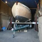 Trailer in position ready for lowering of Atalanta