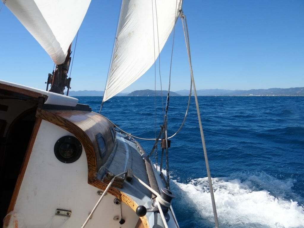 Sailing at last.  This corner of the med is not the windiest, but we had a great sail today.