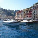 Inside Portofino awaiting Wedge Too, the motor yacht, to berth