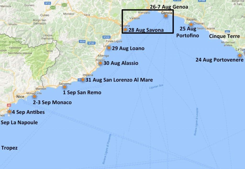 At Genoa we turned South.