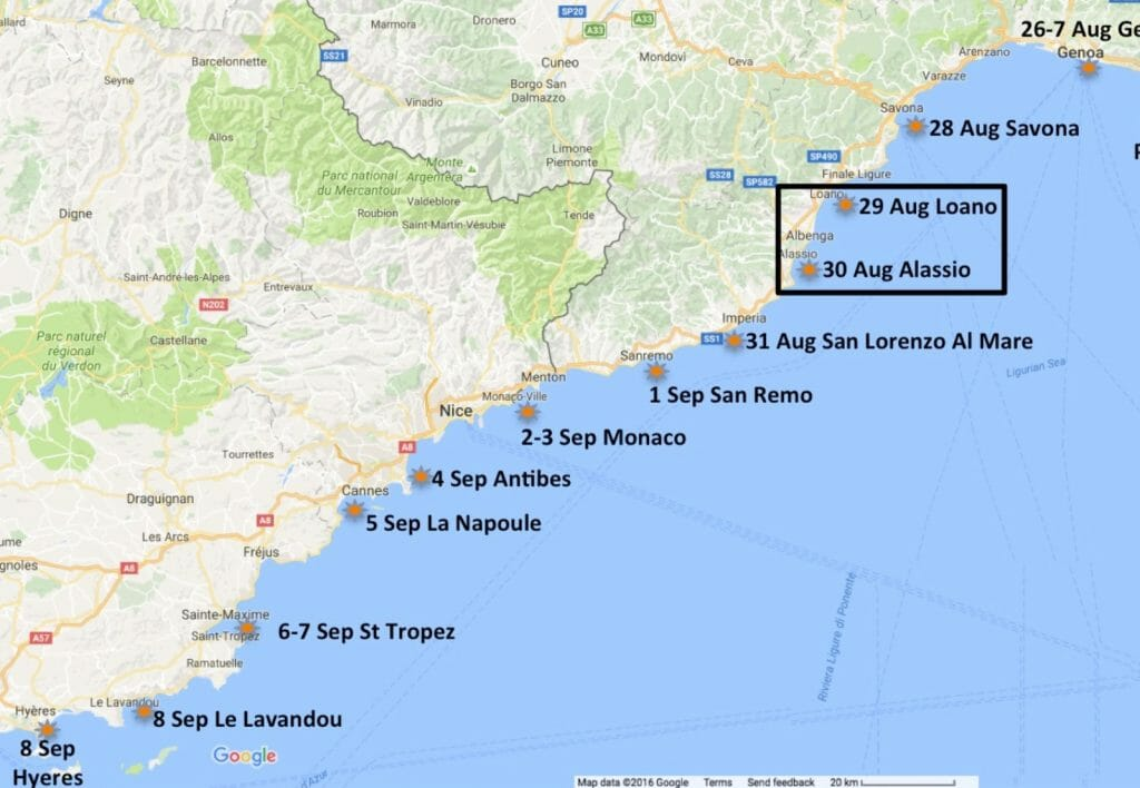 Our next planned stop was Alassio. It reportedly had some excellent tourist attractions.