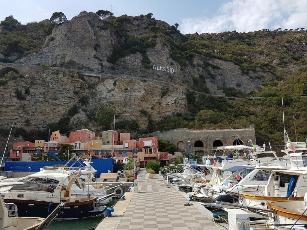 The port at Alassio is a mile or so the the East of the town.