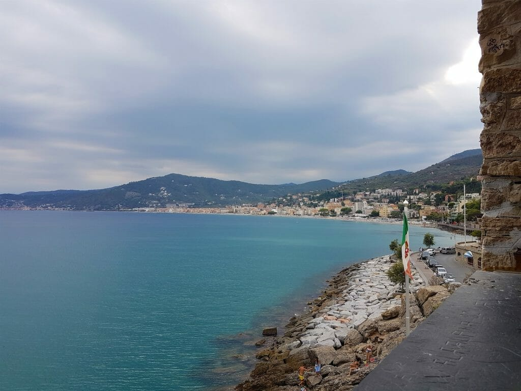 View from the chapel at the road entrance to the marina, looking toward Alassio
