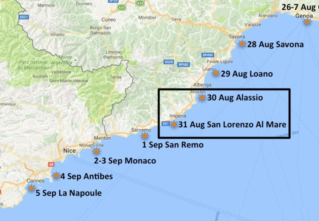 San Lorenzo Al Mare had been recommended as a stop by an English guy working on a large boat at Arnovecchio. So that's where we went.