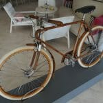 San Lorenzo had hotel by the entrance to the marina with a bicycle theme. This bike is made of wood!