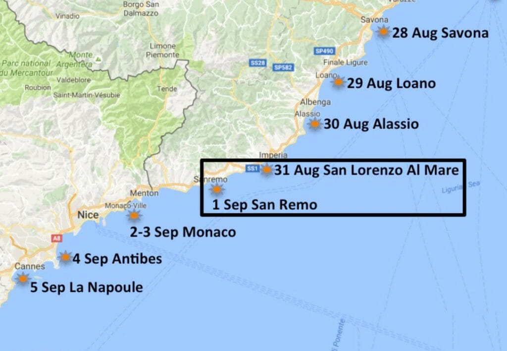 San Remo was to be our last stop in Italy. We had been warned about concerns with migrants in ports nearer the border.