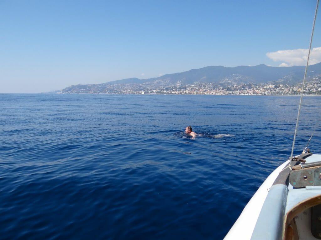 Off San Remo. Flat calm. Very hot. Swim time!