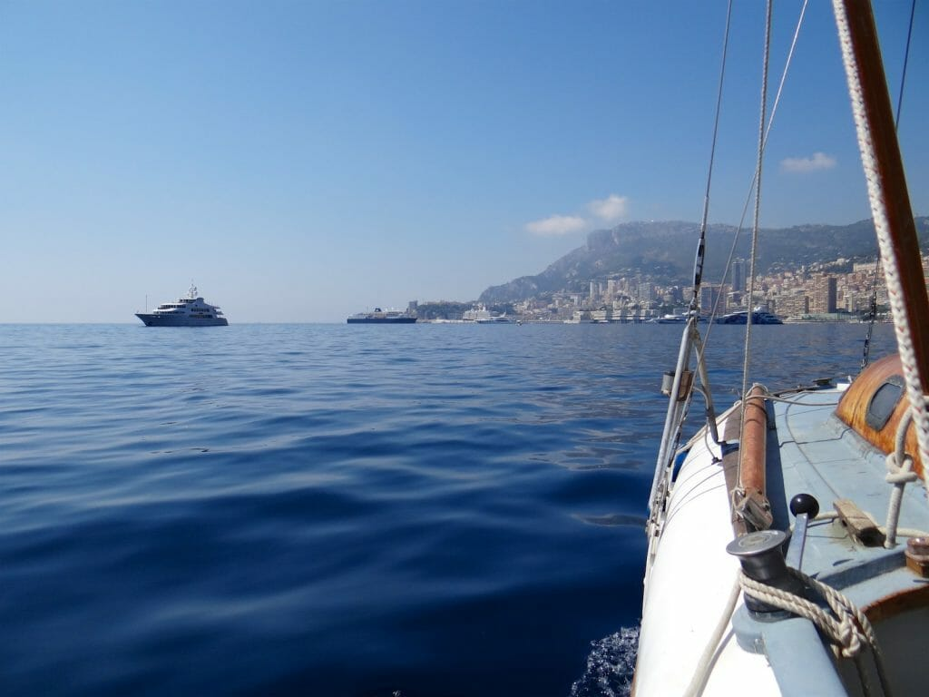 Approaching Monaco on another windless day.