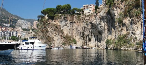 The small boat harbour, SW of the clifftop old Monaco. An impressive hole overshadowed but the the cliffs on which Old Monaco stands.