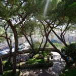 Tree lined footpaths overlooking the  Port de Fontveille and Atalanta Mary