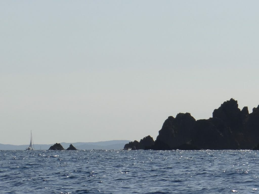 Looking out of the bay to the headland West of Agay