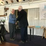 2019 AGM Martin Bennett receives the John Searle Award from Commodore Mike Dixon for the restoration and launch of A16 Dervorguila