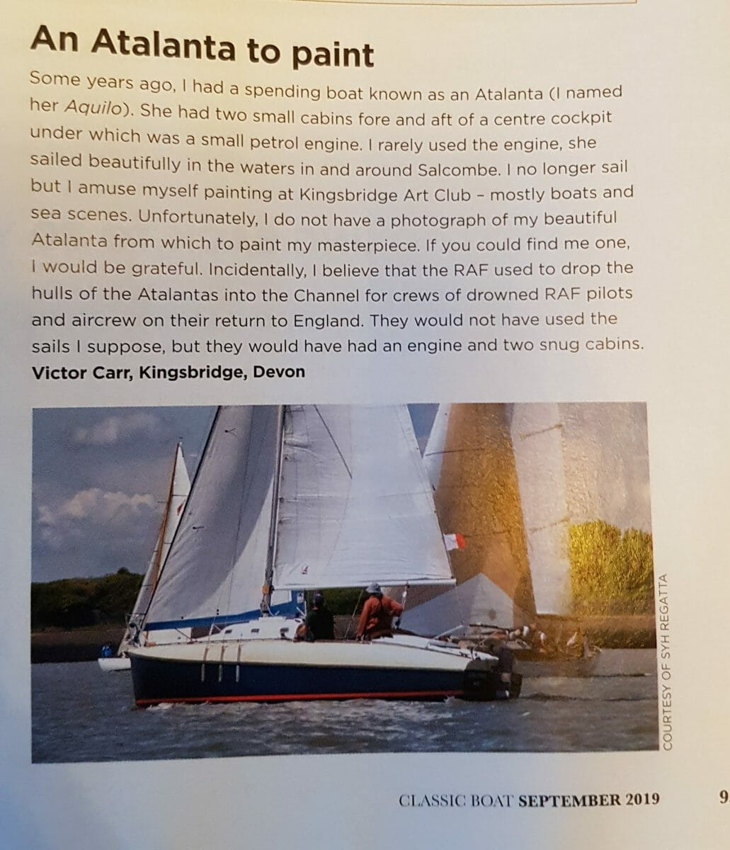 Ex Owner seeks photos of Aquilo sailing for a painting
