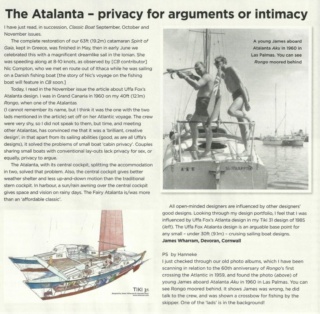 James Wharram comments on the Atalanta, and the crew of A113 Aku