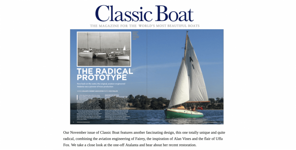 A1 features in Classic Boat with an overview of the design and her first 21st century restoration