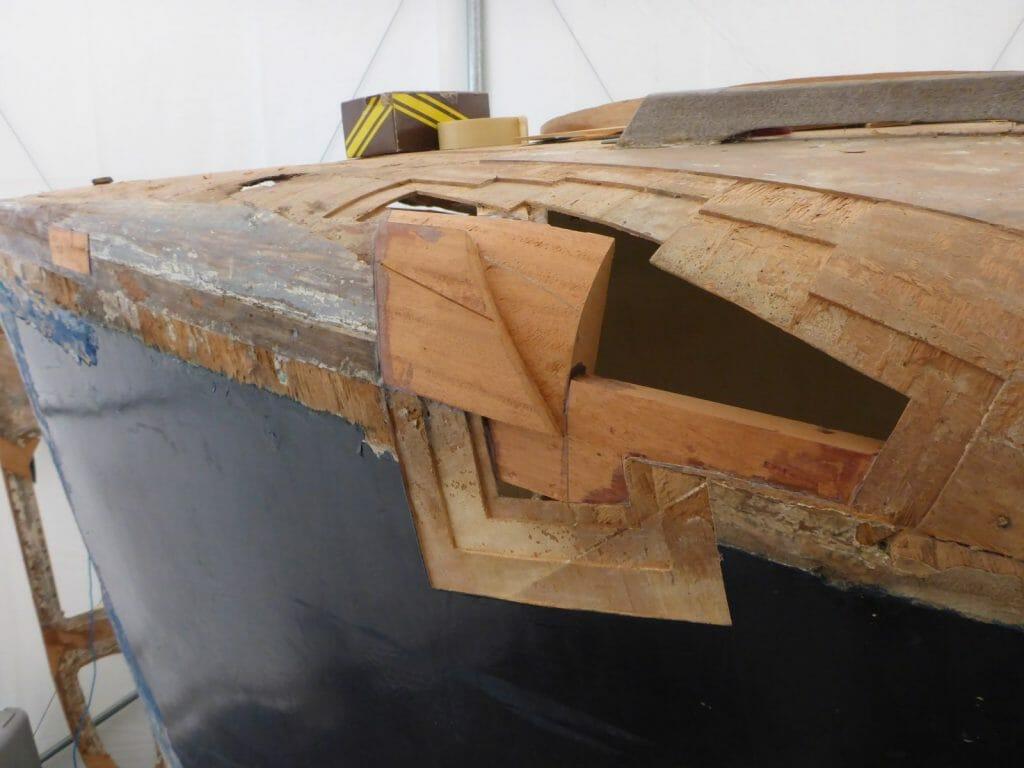 Port bow under repair