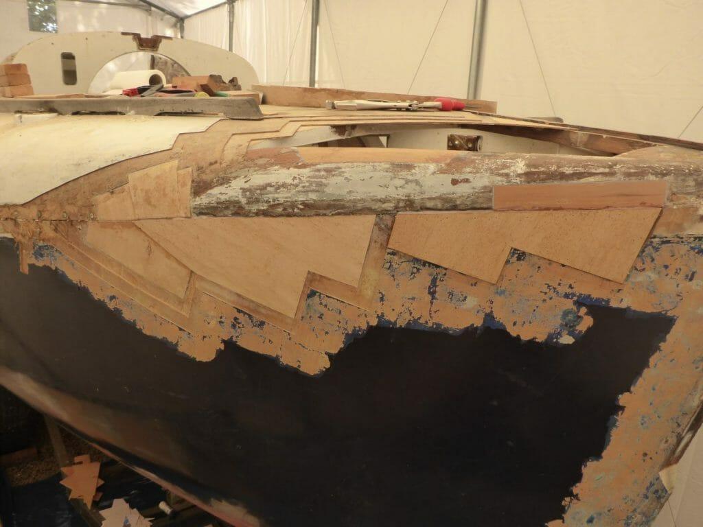 Starboard bow under repair