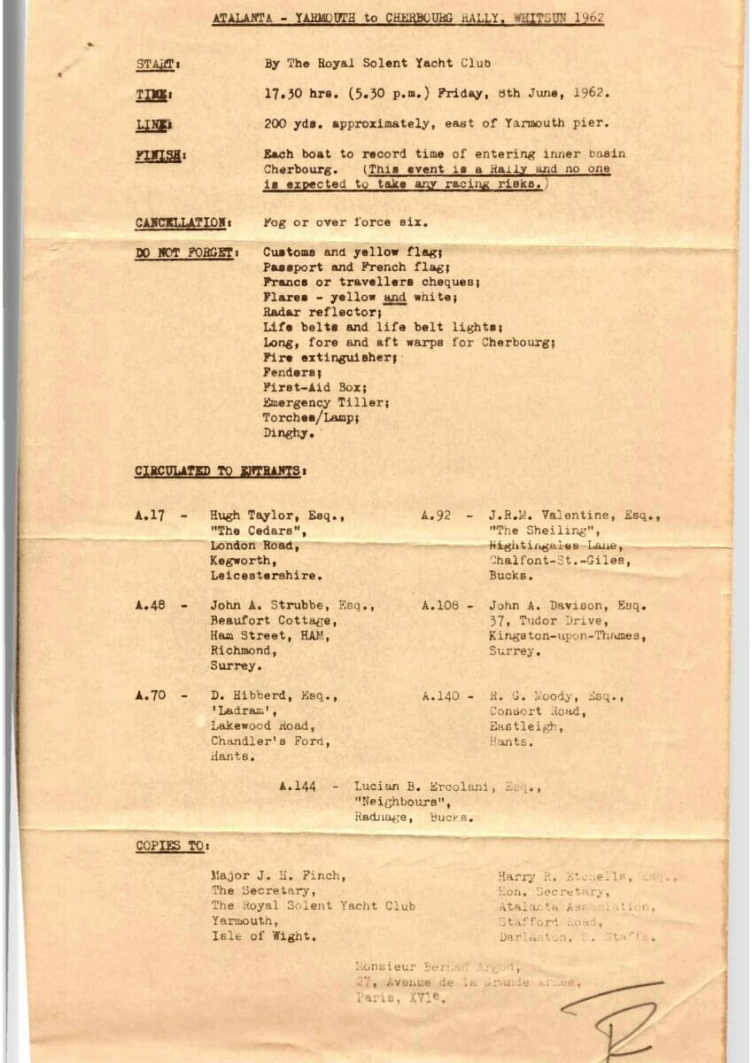 1962 Yarmouth to Cherbourg Race Instructions